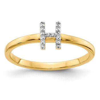 14k White Gold Diamond Initial H Ring