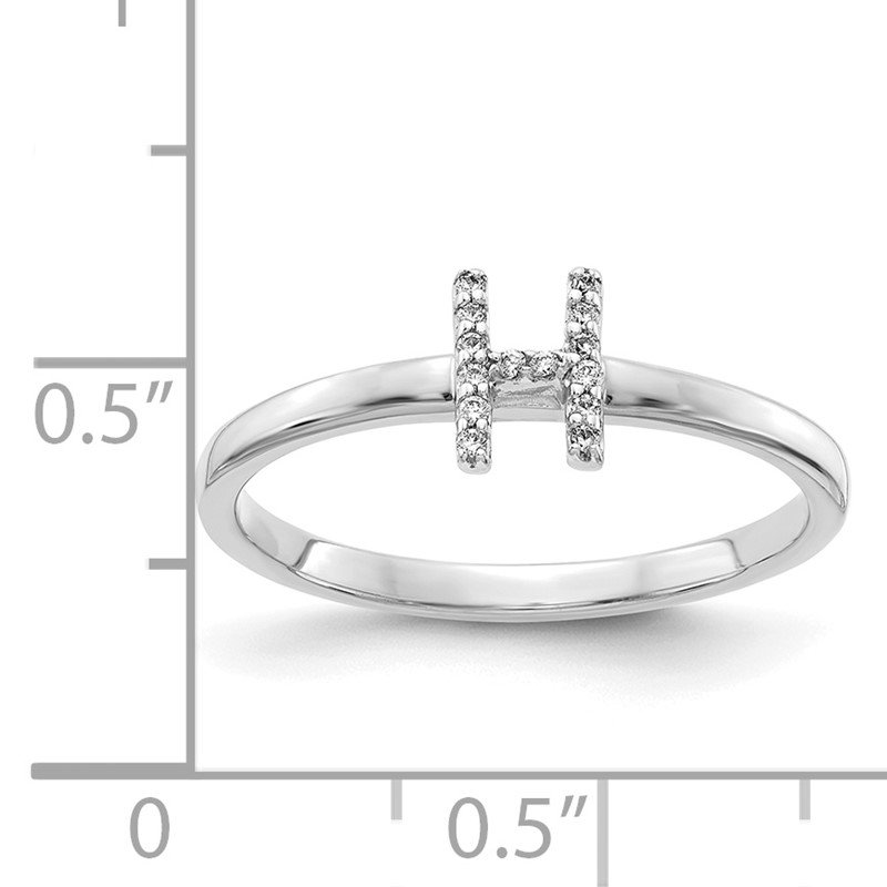 Quality Gold 14k White Gold Diamond Initial H Ring