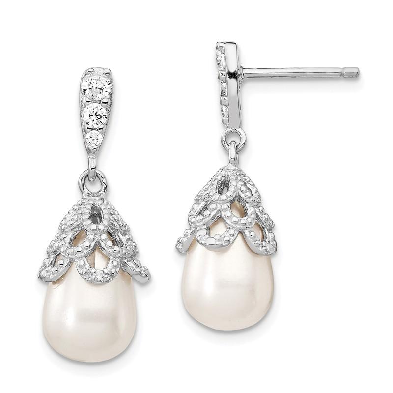Cheryl M Sterling Silver CZ FW Cultured Black Pearl Post Earrings