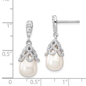 Cheryl M Sterling Silver Rhod Plated CZ & FWC Pearl Post Dangle Earrings