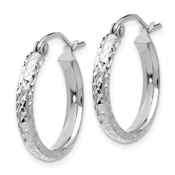 14K White Gold Diamond-cut 2.8x18mm Hollow Hoop Earrings