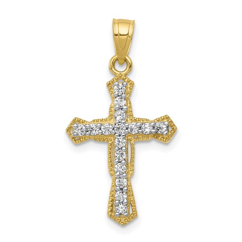Quality Gold 10k CZ Cross Pendant