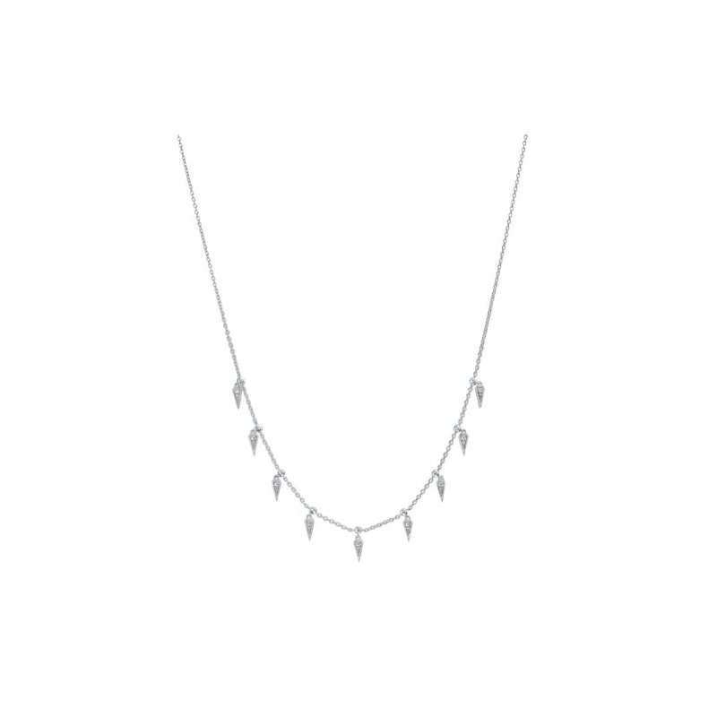Gems One Diamond Icicle Drop Charm Pendant Necklace in Sterling Silver (1/10ctw)