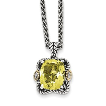 Sterling Silver w/14k Antiqued Lemon Quartz and Diamond Necklace