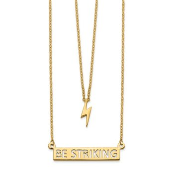 14k Two-Strand Polished Lightning & Be Striking Bar Necklace