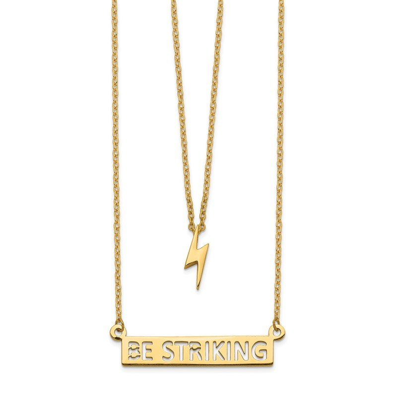 Quality Gold 14k Two-Strand Polished Lightning & Be Striking Bar Necklace