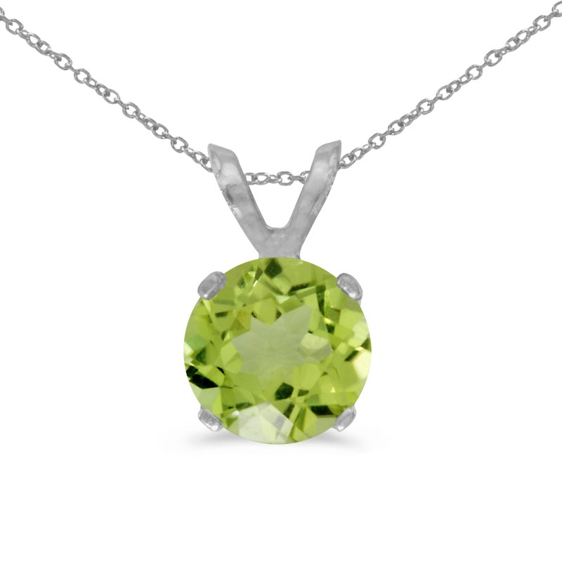 Color Merchants 14k White Gold 6mm Round Peridot Stud Pendant (1.00 ct)