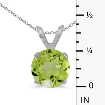 14k White Gold 6mm Round Peridot Stud Pendant (1.00 ct)
