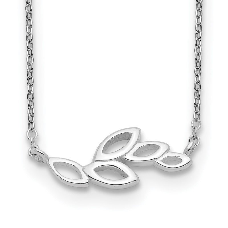 Quality Gold Sterling Silver Polished Leaves Necklace