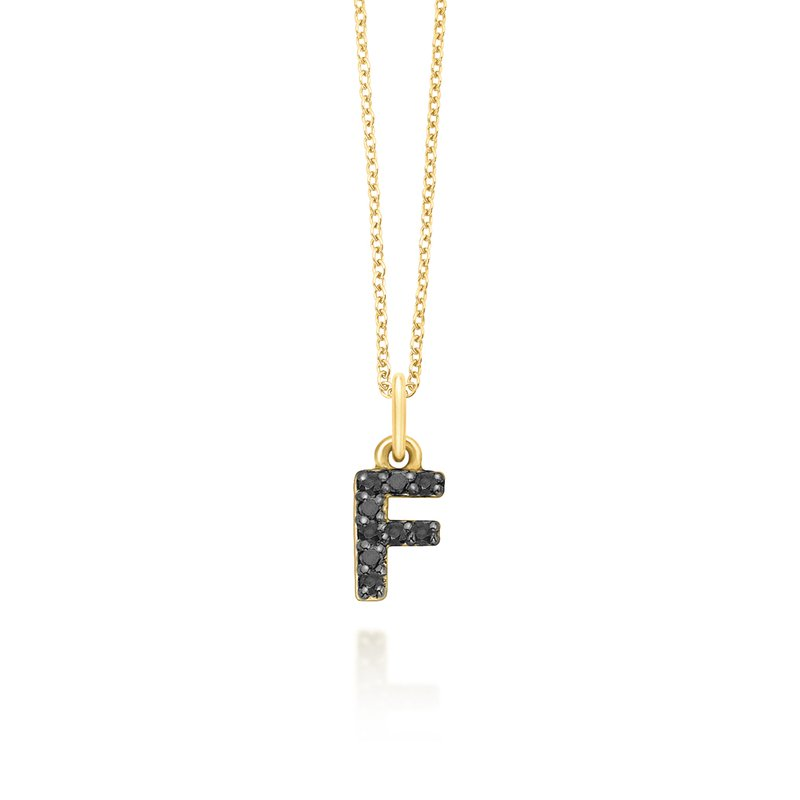"KC Designs Black Diamond Baby Block Initial ""F"" Necklace"