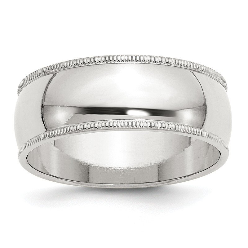 J.F. Kruse Signature Collection Sterling Silver 8mm Half Round Milgrain Band