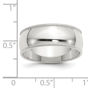 Sterling Silver 8mm Half Round Milgrain Band