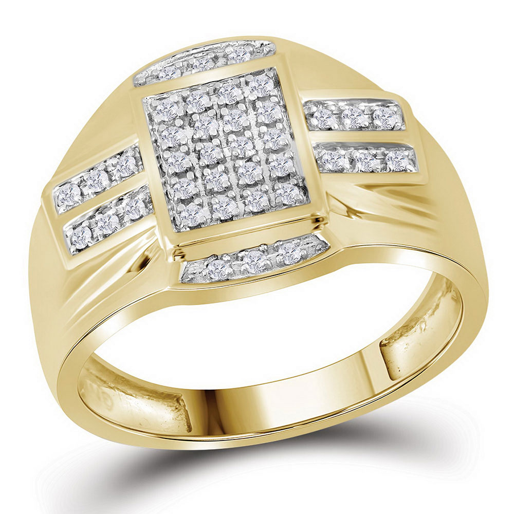 10kt Yellow Gold Mens Round Diamond Band Ring 1//10 Cttw