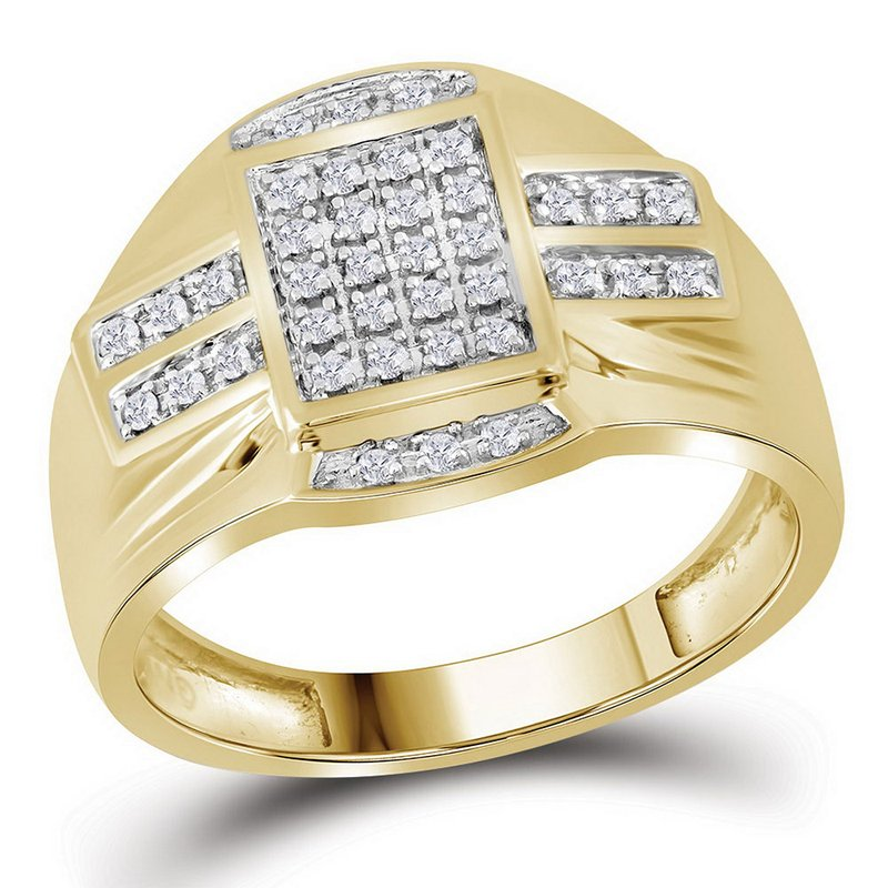 Gold-N-Diamonds 10kt Yellow Gold Mens Round Diamond Rectangle Cluster Ring 1/4 Cttw