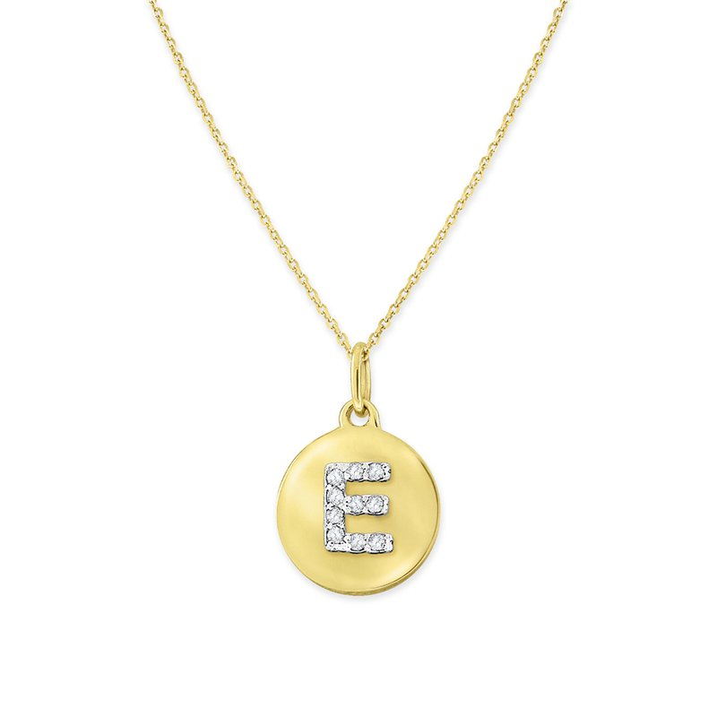 MAZZARESE Fashion Diamond Uppercase Mini Disc Initial E Necklace