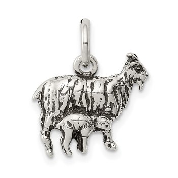 Sterling Silver Antiqued Goat Charm