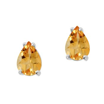 14k White Gold Pear Shaped Citrine Earrings