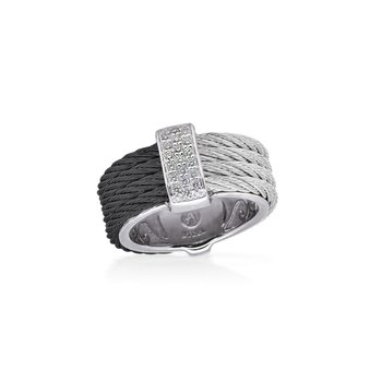 Black & Grey Cable Petite Colorblock Ring with 18kt White Gold & Diamonds