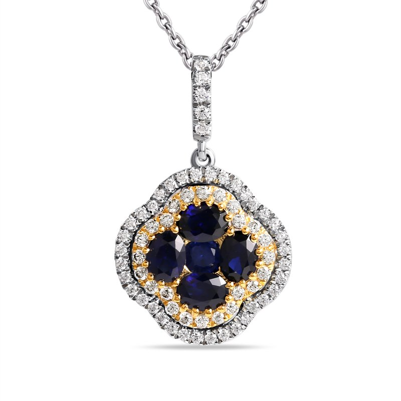 Shula NY 14K Two Tone Clover shaped Pendant with 5 Sapphires,  1.07CT T.W ,65 Diamonds  0.32CT