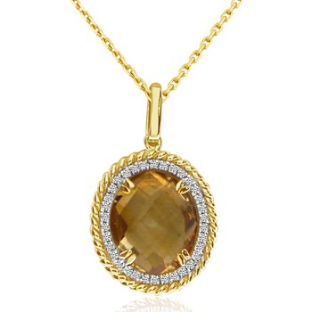 14K Yellow Gold Citrine Braided Pendant