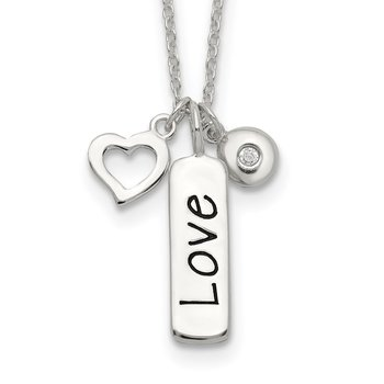Sterling Silver Polished CZ LOVE Heart Charm w/ 1 inch ext Necklace