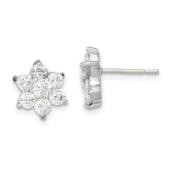 Sterling Silver Floral CZ Earrings