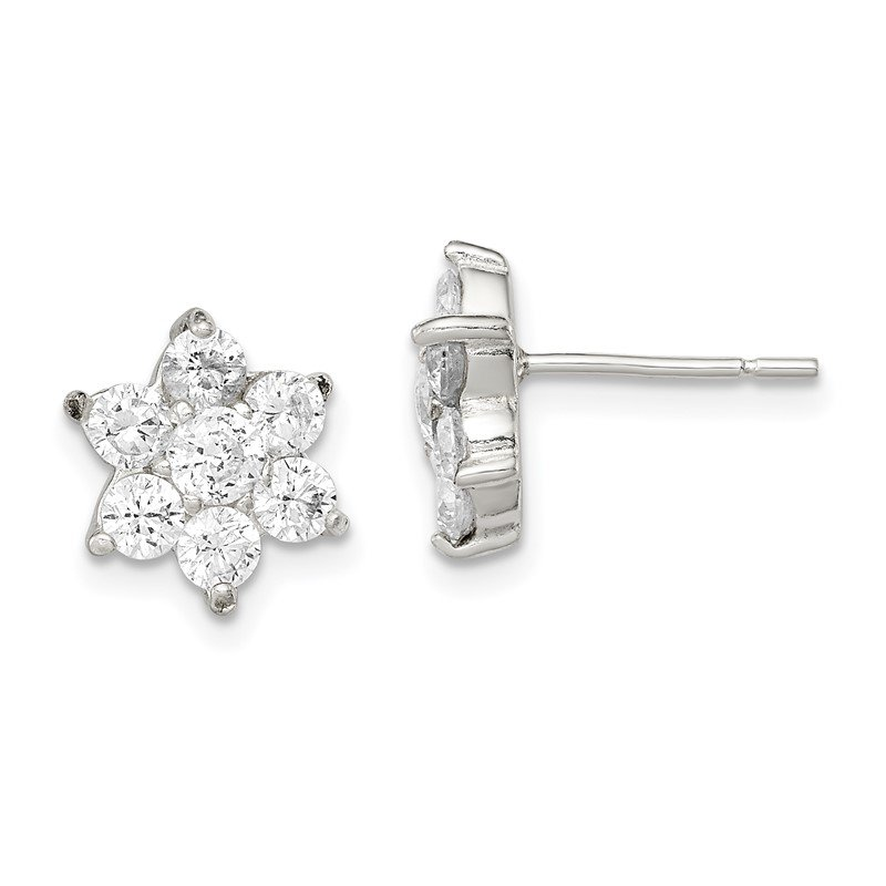Quality Gold Sterling Silver Floral CZ Earrings