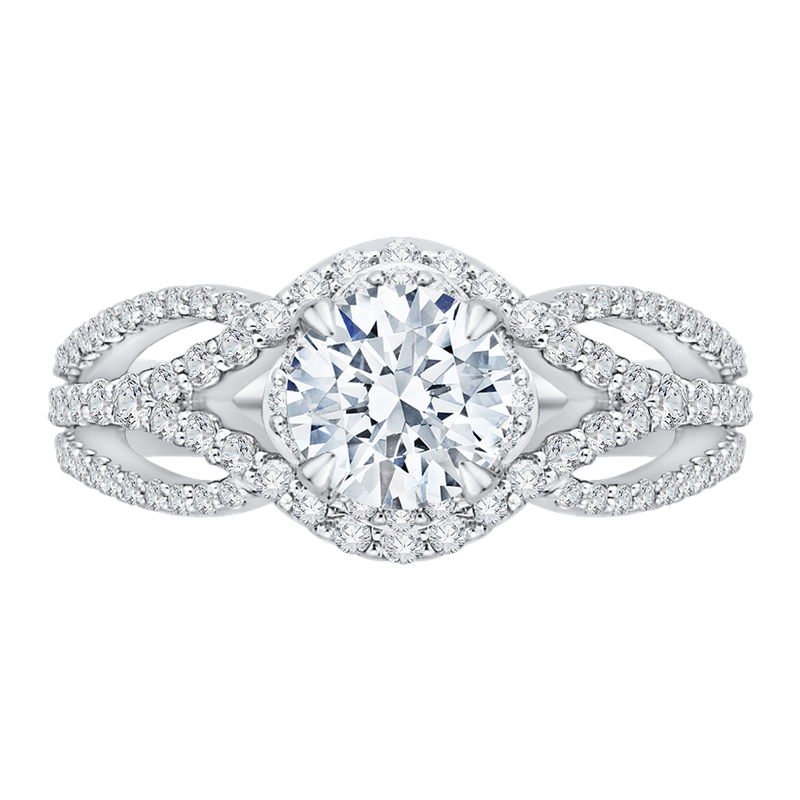 Carizza 14K White Gold Round Diamond Engagement Ring with Split Shank (Semi-Mount)