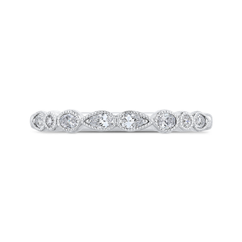 18K White Gold Pear Oval and Round Diamond Wedding Band