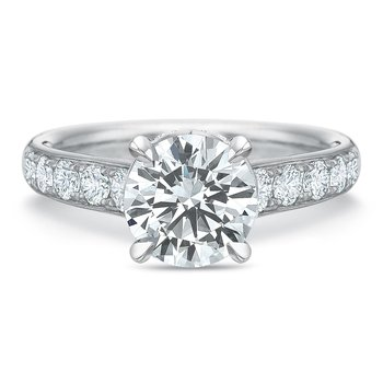 18K white gold semi mount for 1.50-3.00 ct center