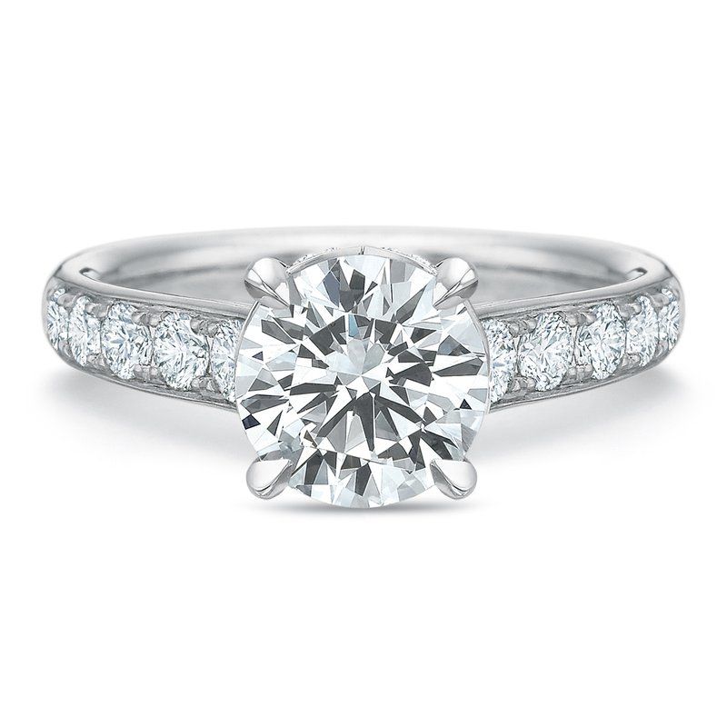 Precision Set 18K white gold semi mount for 1.50-3.00 ct center