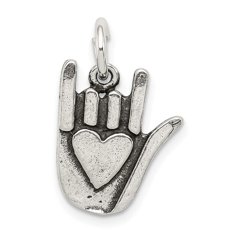 Arizona Diamond Center Collection Sterling Silver Antiqued Sign Language Charm