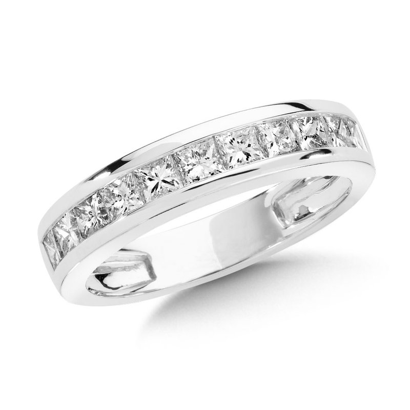 SDC Creations Channel set Princess cut Diamond Wedding Band 14k White Gold (3/8 ct. tw.)
