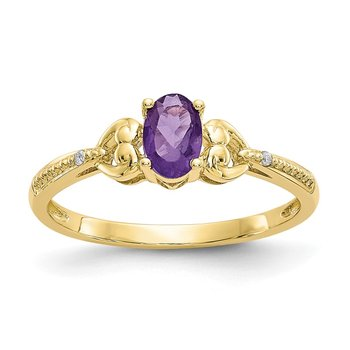 10K Amethyst and Diamond Ring