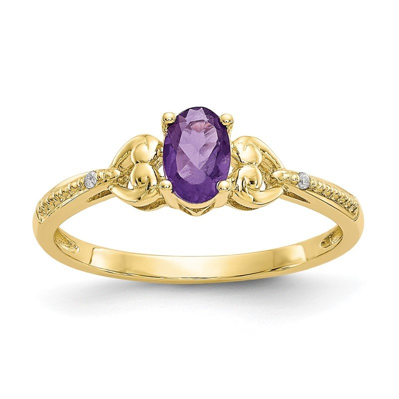 Quality Gold 10K Amethyst and Diamond Ring