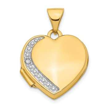 14K Diamond 16mm Heart Locket Pendant