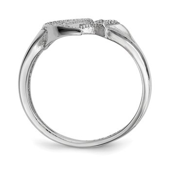 Sterling Silver Rhodium-plated CZ Moon w/Star Polished Ring