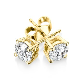 Four Prong Diamond Studs in 14k Yellow Gold Screw-back posts (1 1/4ct. tw.)