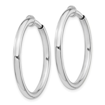 Sterling Silver RH-plated 2.5x25mm Non-Pierced Hoop Earrings