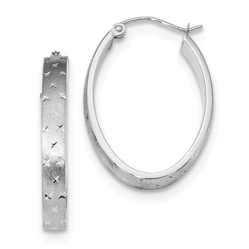 14k White Gold Polished Satin Diamond-cut Hoop Earrings