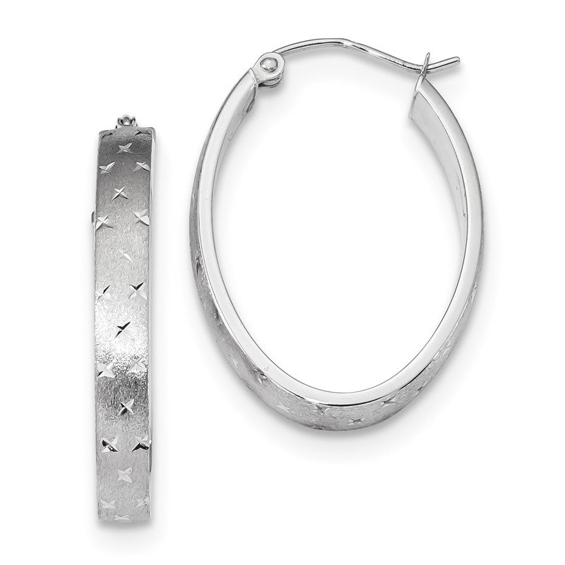 Quality Gold 14k White Gold Polished, Satin & D/C Hoop Earrings