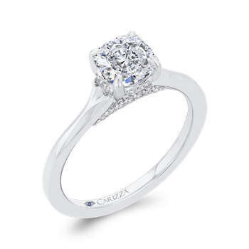 18K White Gold Cushion Diamond Solitaire Plus Engagement Ring  (Semi-Mount)