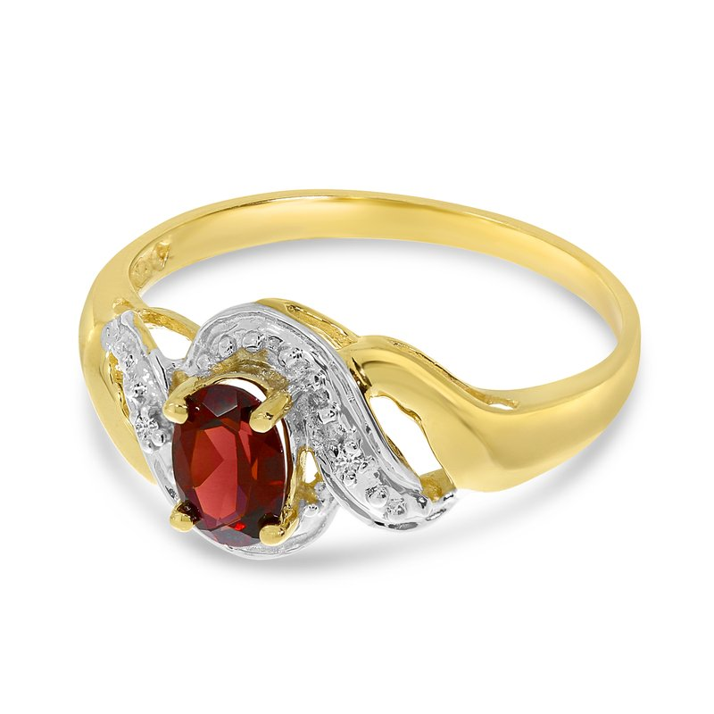 Color Merchants 14k Yellow Gold Oval Garnet And Diamond Swirl Ring
