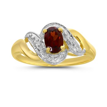 14k Yellow Gold Oval Garnet And Diamond Swirl Ring
