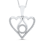 1/5 ct Round White Diamond Gold Heart Pendant with Chain