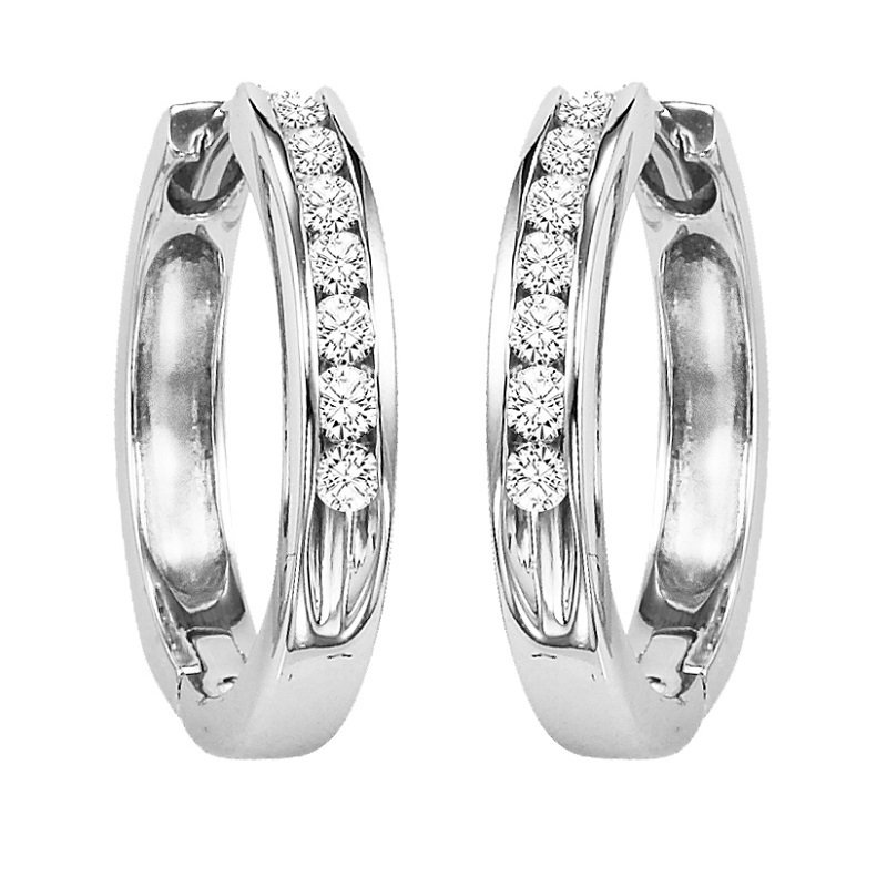 Gemsone 14K Diamond Channel Set Earrings 3/4 ctw