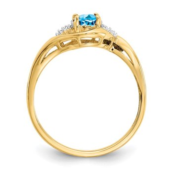 14k Blue Topaz and Diamond Ring