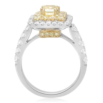 Square Double Halo Ring