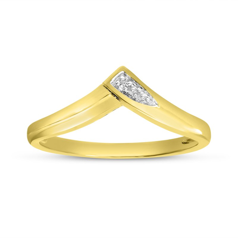 Color Merchants 14K Yellow Gold Diamond Chevron Ring