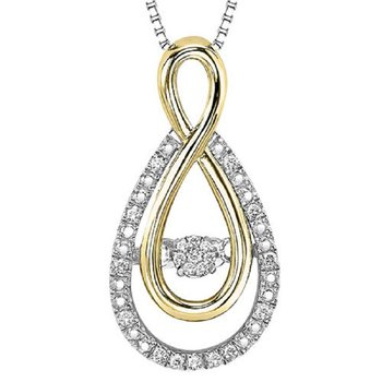 Silver & 10KY Diamond Rhythm Of Love Pendant 1/10 ctw